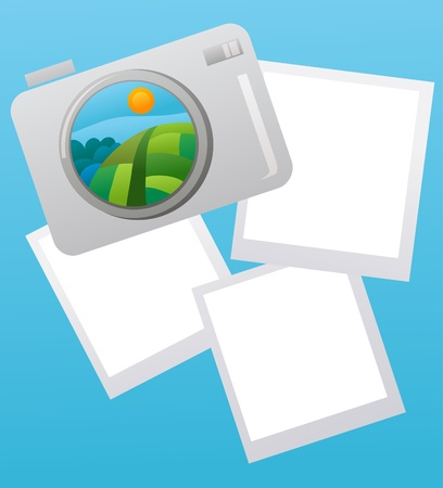 vacation or travel image concept with picture notes , vector illustration Vector