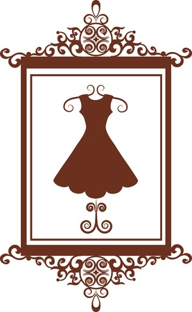schaufensterpuppen: Retro Mode-Boutique Schild mit Kleid, Vektor-Illustration