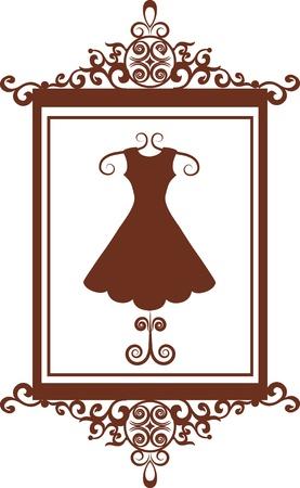 mannequin: segno di boutique di moda retr� con abito, illustrazione vettoriale