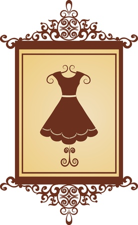 boutiques: retro fashion boutique sign with dress Illustration