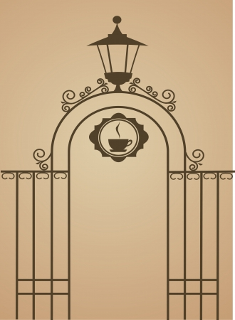 victorian fence: Ancient gate of restaurant or bar , vector illustration Illustration