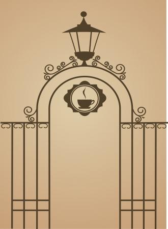 rejas de hierro: Antigua puerta de restaurante o bar, ilustraci�n vectorial