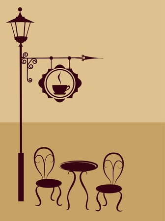 outdoor cafe: Ancient coffee sign of restaurant or bar with chairs and table
