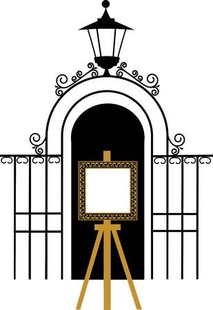 vintage gate to the park with drawing easel Vector
