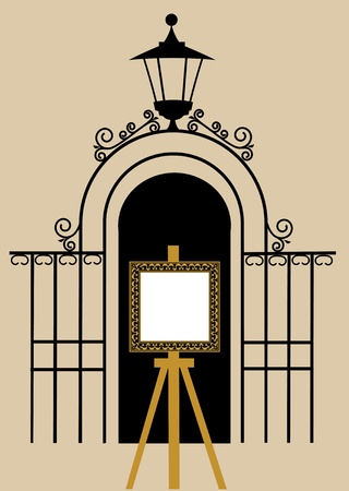 victorian fence: vintage gate to the park with drawing easel Illustration