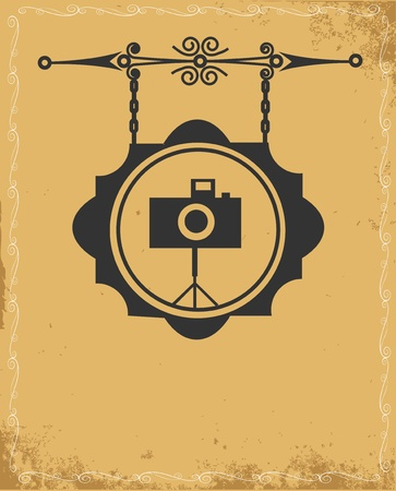 vintage camera: antique street sign of photo store