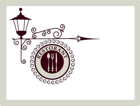 antique street sign of restaurant or bar Stock Vector - 9861925