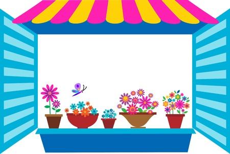 flowerpots: open window with flowerpots, vector illustration