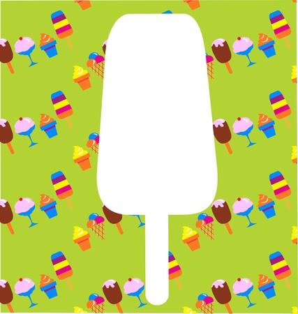 different ice-cream icons on green background  Vector