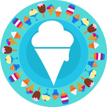 mezcla de frutas: helado sobre fondo azul con diferentes helados alrededor de