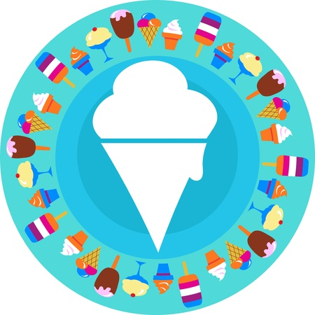 ice cream on blue background with different ice-creams around Vector