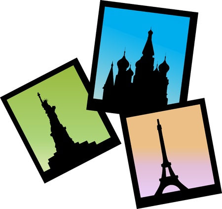 three pictures of Moscow, Paris and NY icons, vector illustration Vector