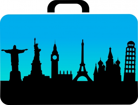 travel suitcase with cities icons , vector Vektorové ilustrace
