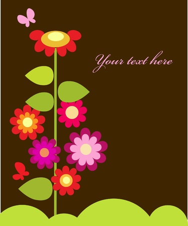 colorful flowers with butterflies , vector illustration Vector