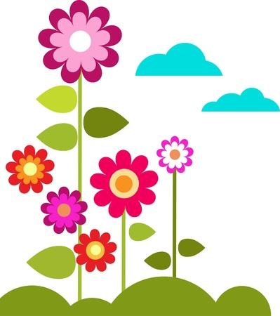zomer weide met bloemen en wolken, vector illustrastion Stock Illustratie