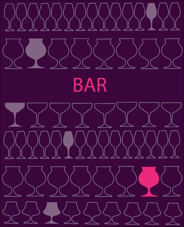 bar or restaurant menu template. glass on purple and pink glasses template Vector