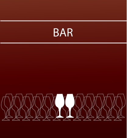 bar or restaurant menu template. glass on pink glasses pink template Vector
