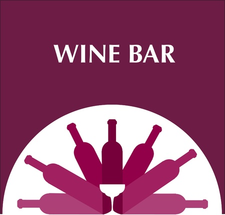 bar menu template with bottles and wine glasses , on pink background Vector