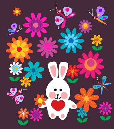 colorful spring flowers and easter bunny easter card Vector