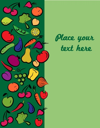 fruits and vegetables on card with a place for your text Vector