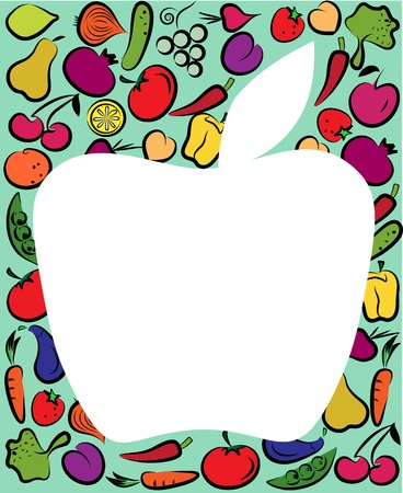 vegtables: apple on fruit and vegtables colorful template Illustration