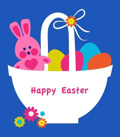 Easter basket full on colorful eggs, easter card Vector
