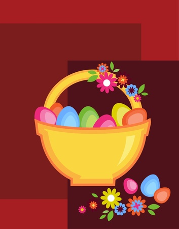 easter card with egg basket, flowers and chicken Vector