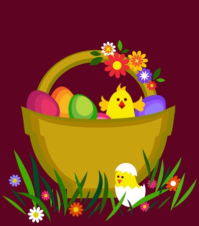 osterhase: easter card with egg basket, flowers and chicken