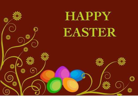 pasqua: easter card template with easter egg with floral elements Illustration