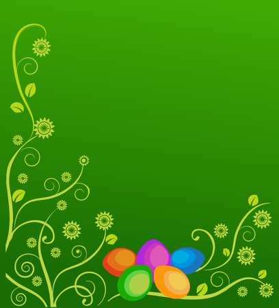 Easter card with flowers and colorful eggs on green background Vector