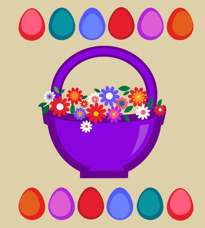 Easter card template - basket with colored eggs and flowers Vector