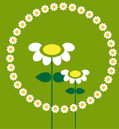 two flowers in a flower frame on green background Vector