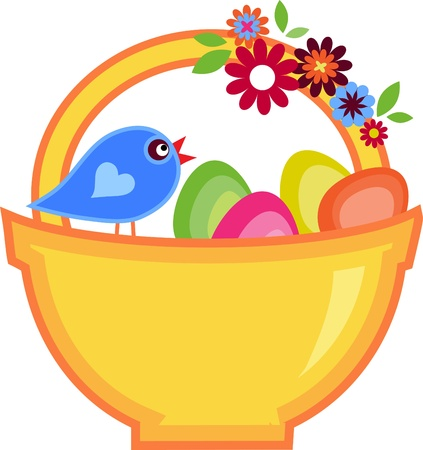 Easter basket full on colorful eggs and flowers with a bird on it Vector