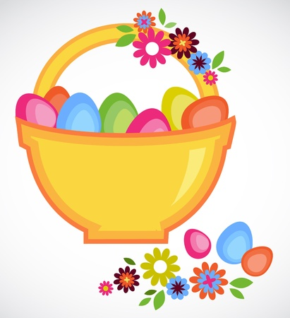 card of Easter basket full on colorful eggs and flowers Vector