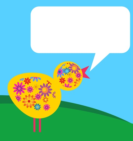 bird with flower texture in a meadow with a place for a text Vector
