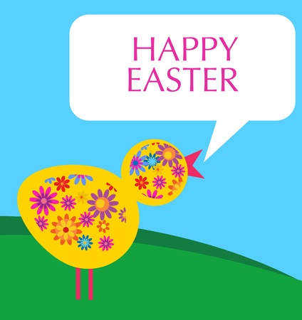 bird with flower texture in a meadow , Easter card Vector