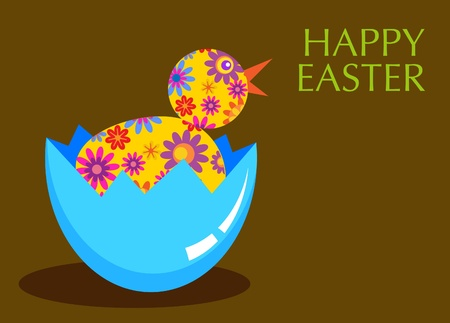 new burn chick with flower texture, Easter card template Vector