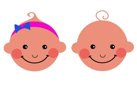 smiling baby boy and baby girl, vector illustration Stock Vector - 9861696