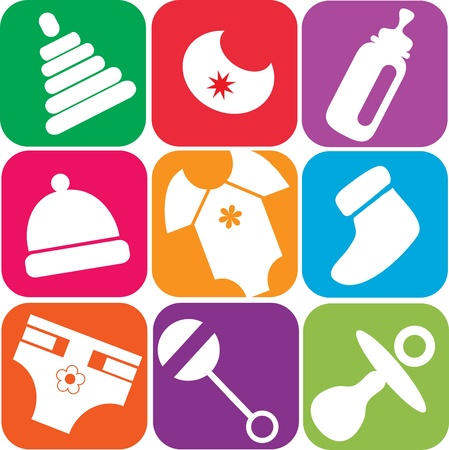 newborn baby icons of toys and accessories , vector illustartion Illustration