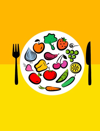 Different types of delicious fruits and vegetables combined in round frame on yellow background Stock Vector - 9861874