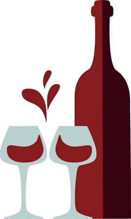 botella y clink copas con splash vino rojo (amor como corazón)