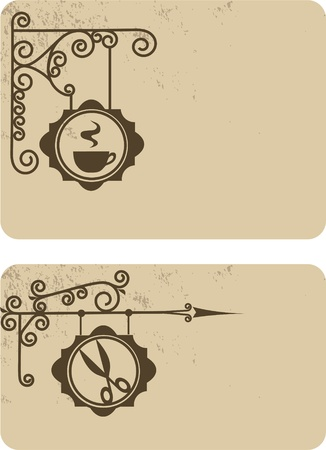 Ancient street signboard hairdressers and coffee house Vector