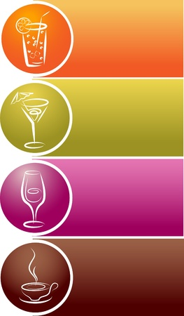 beverage icons with free space for your text Vector