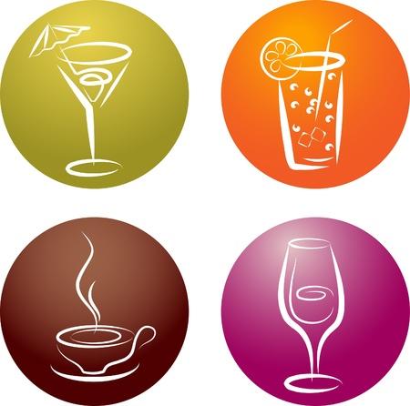 cuatro logotipos de icono de diferentes bebidas, ilustración vectorial Logos