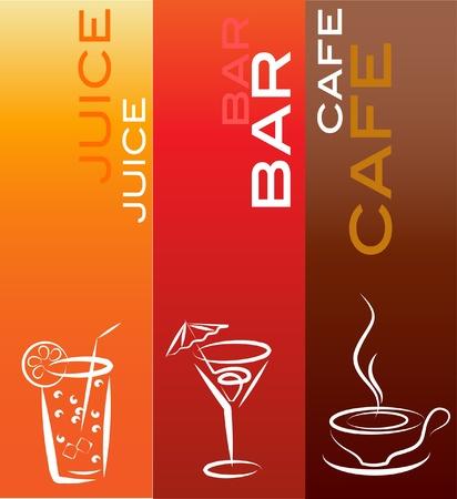 cafe bar: beverage icons; design template , vector illustration