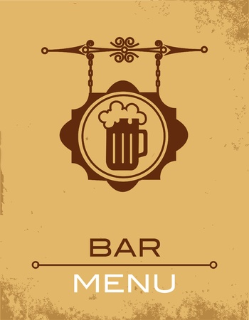 Ancient street signboard of beer house or bar Stock Vector - 9861942