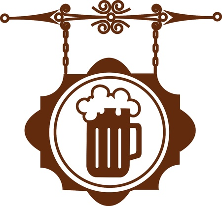 beer drinking: Ancient street signboard of beer house or bar, vector illustration Illustration