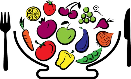 bowl of fruit: Different fruits and vegetables combined in bowl with fork and knife, vector illustration