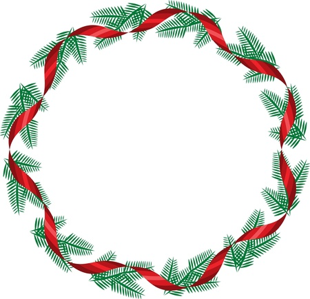 holiday garland: Christmas wreath with red ribbon
