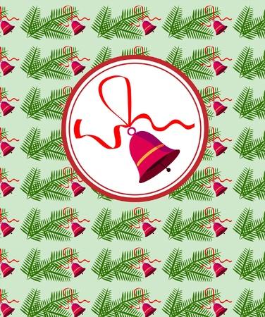 pinetree: Bell utiliza rojo con cinta sobre fondo de rama de �rbol de pino. ilustraci�n Vectores